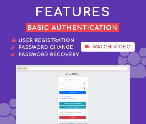 basic authentication core admin user management system