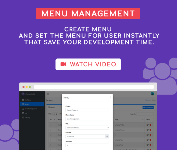 menu management core admin user management system