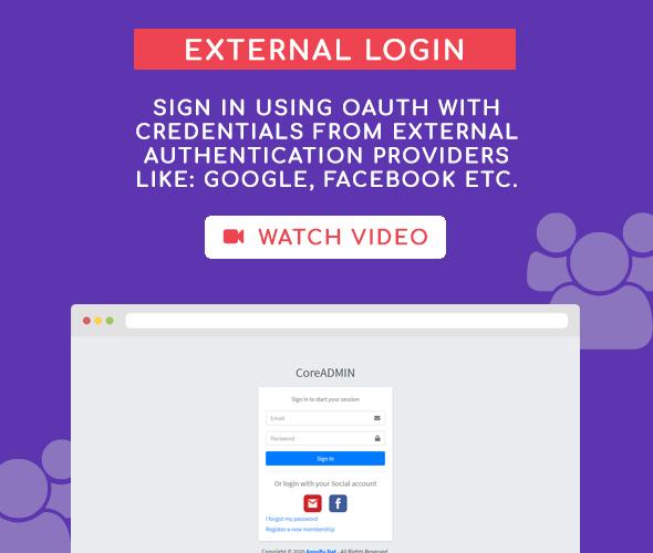 external login core admin user management system
